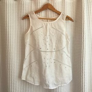 Adiva white eyelet shell tank top